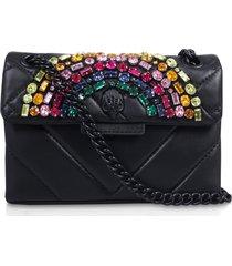 kurt geiger london rainbow shop mini kensington leather crossbody bag - black