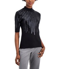 alfani petite sequin-embellished elbow-sleeve sweater, created for macy's