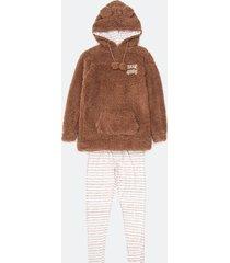 pijama fleece calça manga longa com bordado bear hugs capuz e orelhas