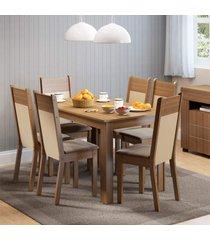 conjunto sala de jantar honduras madesa mesa tampo de madeira com 6 cadeiras marrom - marrom - dafiti