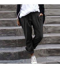 zanzea pantalones largos para mujer pantalones holgados étnicos sueltos extragrandes piernas anchas -negro
