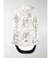 jil sander fish print long sleeve shirt