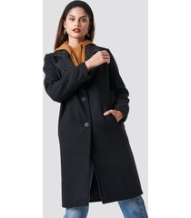 na-kd trend n branded lapel coat - black