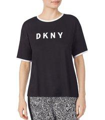 dkny women's logo pajama t-shirt - solid black - size l