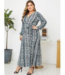 yoins plus talla gris con aberturas diseño serpiente mangas largas vestido