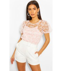 floral mesh puff sleeve cami top, pink
