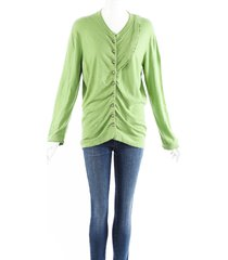 louis vuitton green cashmere knit ruched cardigan green sz: m