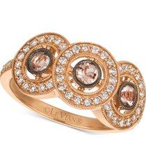 le vian peach morganite (1/4 ct. t.w.) & diamond (1/3 ct. t.w.) ring in 14k rose gold