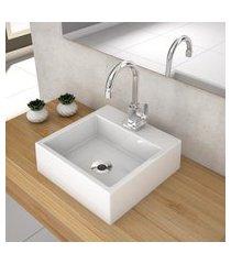cuba de apoio para banheiro compace q355w quadrada branca