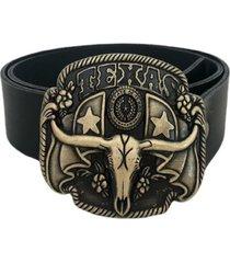 cinturón cuero negro hebilla toro mf cueros