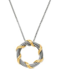 "peter thomas roth two-tone circle 20"" pendant necklace in sterling silver & 18k gold-plate"