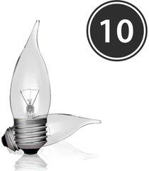 kit 10 lã¢mpadas incandescentes vela bico torto clara vl-32 e-27 25w 127v toplux - amarelo - dafiti