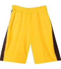fendi yellow teen bermuda shorts with logo side bands