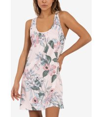 linea donatella vivienne floral-print lace-back cutout nightgown