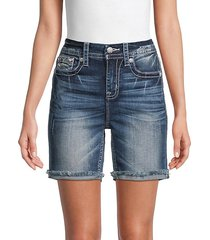 curvy mid-rise fray denim shorts