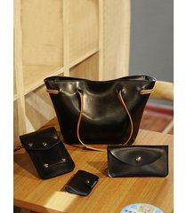 bolso bandolera multifunción de piel sintética de 4 piezas bolsa hombro sólido bolsa