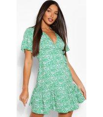 tall geweven bloemenprint wikkel jurk, groen