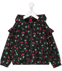 monnalisa ruffled sleeve cherry print jacket - black