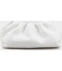 evie rushed woven clutch - white