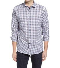 men's bugatchi ooohcotton tech check knit button-up shirt, size large - brown