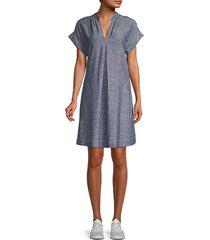 short-sleeve linen-blend dress