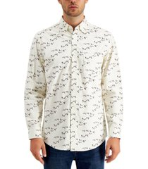 club room men's bird-print corduroy cotton shirt, created for macy's