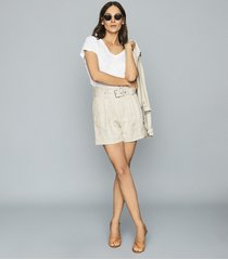 reiss romy - textured linen shorts in neutral, womens, size 12