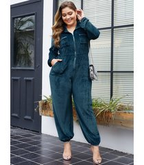 yoins plus size lake blue pocket design classic collar jumpsuit
