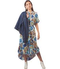 vestido adrissa estampado camisero manga rodado con asimetria y boleros azul rey