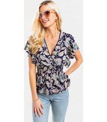averi surplice floral blouse - blue