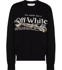 off-white intarsia-knit jumper - black