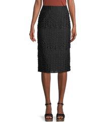 akris punto women's dot embroidered lace midi skirt - black - size 4