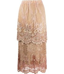a.n.g.e.l.o. vintage cult 1980s embroidered layered midi skirt -