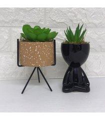 conjunto de vaso larnja com pã© de metal e bob na cor preta - preto - feminino - dafiti