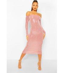 tall bodycon jurk met pailletten, vierkante hals en lange mouwen, nude