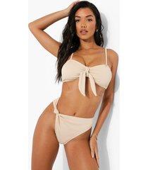 geribbeld geknoopt hoog uitgesneden bikini broekje, sand