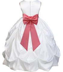 white taffeta bubble flower girl dress pageant wedding bridesmaid handmade 301t
