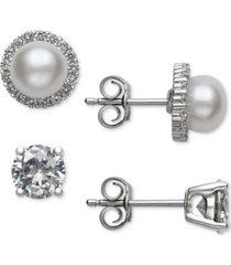belle de mer 2-pc. set cultured freshwater pearl (6mm) & cubic zirconia stud earrings in sterling silver, created for macy's
