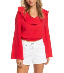 women's roxy paradise is you ruffle trim bell sleeve crop top