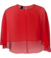 pinko sheer cape top - red