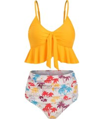 knot coconut palm ruched hawaii tankini swimsuit