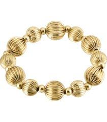 2028 gold-tone round beaded stretch bracelet