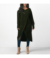 zanzea 2018 invierno moda mujer cuello redondo manga larga midi vestidos ocio sólido baggy irregular splits work ol dress kaftan army green -verde