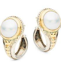 sterling silver & 18k gold faux pearl hoop earrings