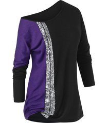 plus size colorblock sequined tunic t shirt