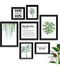 conjunto kit 7 quadro oppen house s frases reflexão home sueet folhagem família moldura preta e vidro