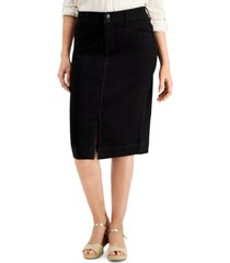 charter club tummy control denim midi skirt, created for macy's