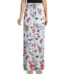 floral drawstring wide-leg pants