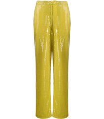 amen paillette-embellished trousers - yellow