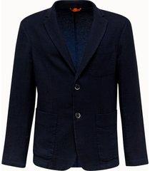 barena giacca borgo in misto lino blu